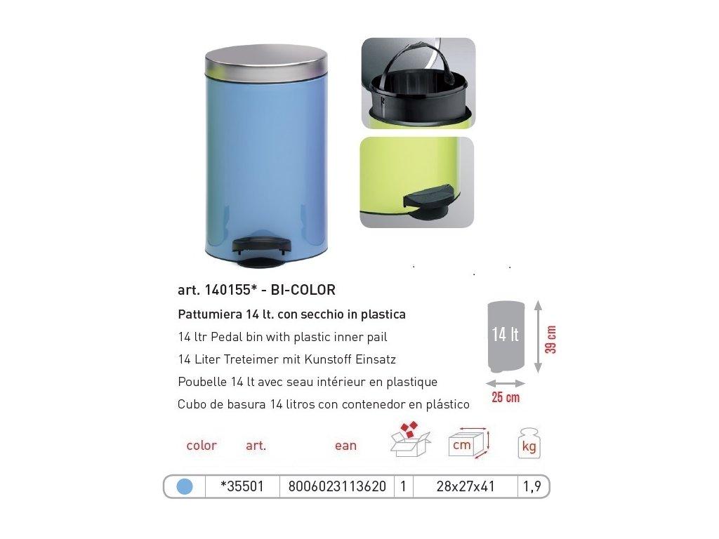 Pedálový koš 14L s odnímatelným plastovým kbelíkem
