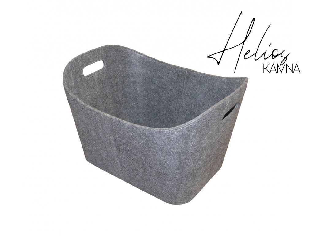 Koš z filcu, šedý s bílými švy 55/40/35cm