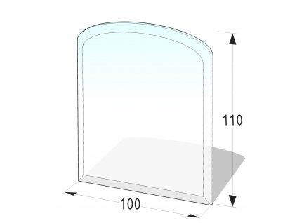 Skleněná podložka pod kamna půloblouk