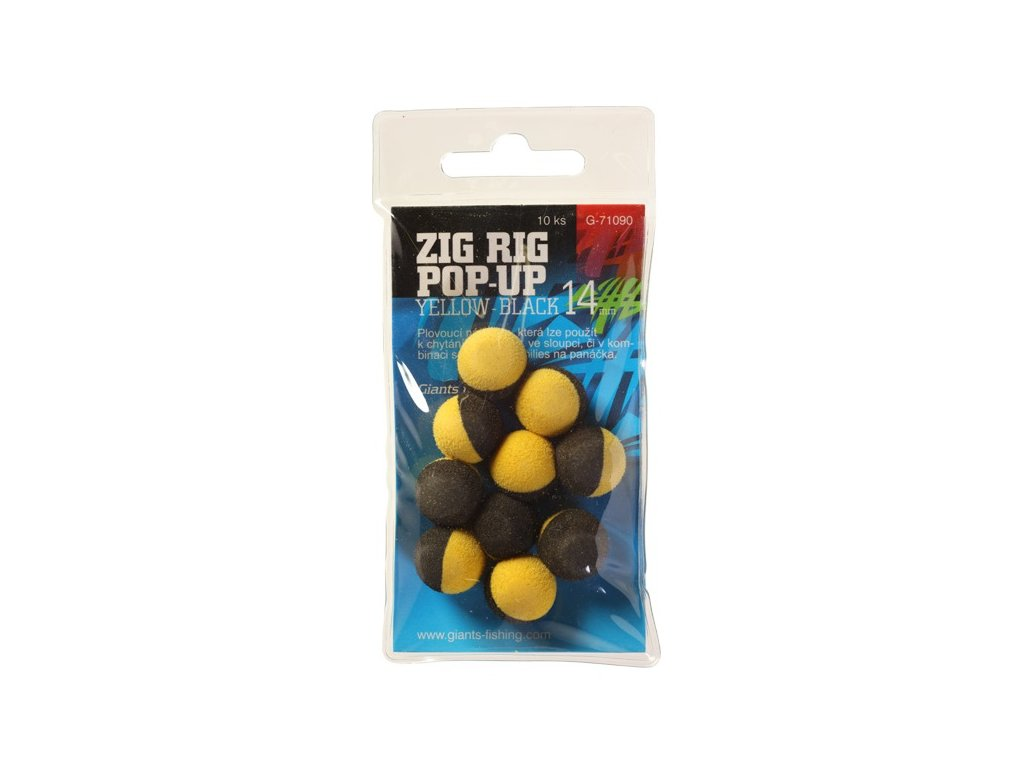 Giants fishing Pěnové plovoucí boilie Zig Rig Pop-Up yelow-black 14mm,10ks