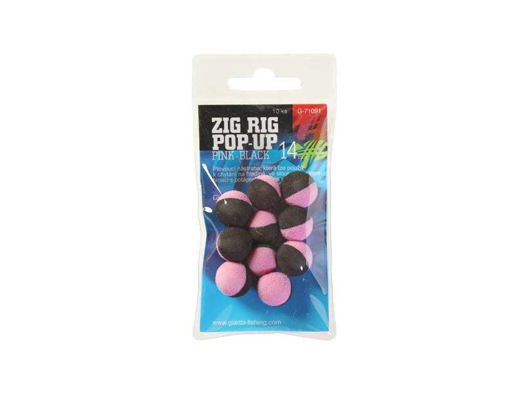 Giants fishing Pěnové plovoucí boilie Zig Rig Pop-Up pink-black 10mm,10ks