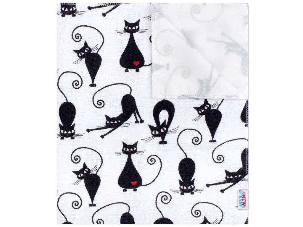 Nepromokavá flanelová podložka New Baby s černou kočkou - bílá