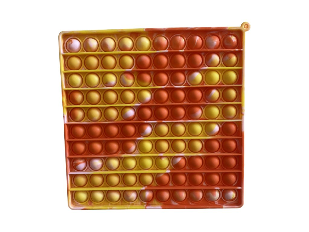 Pop It antistresová hračka čtverec oranžovožlutý JUMBO 20 cm