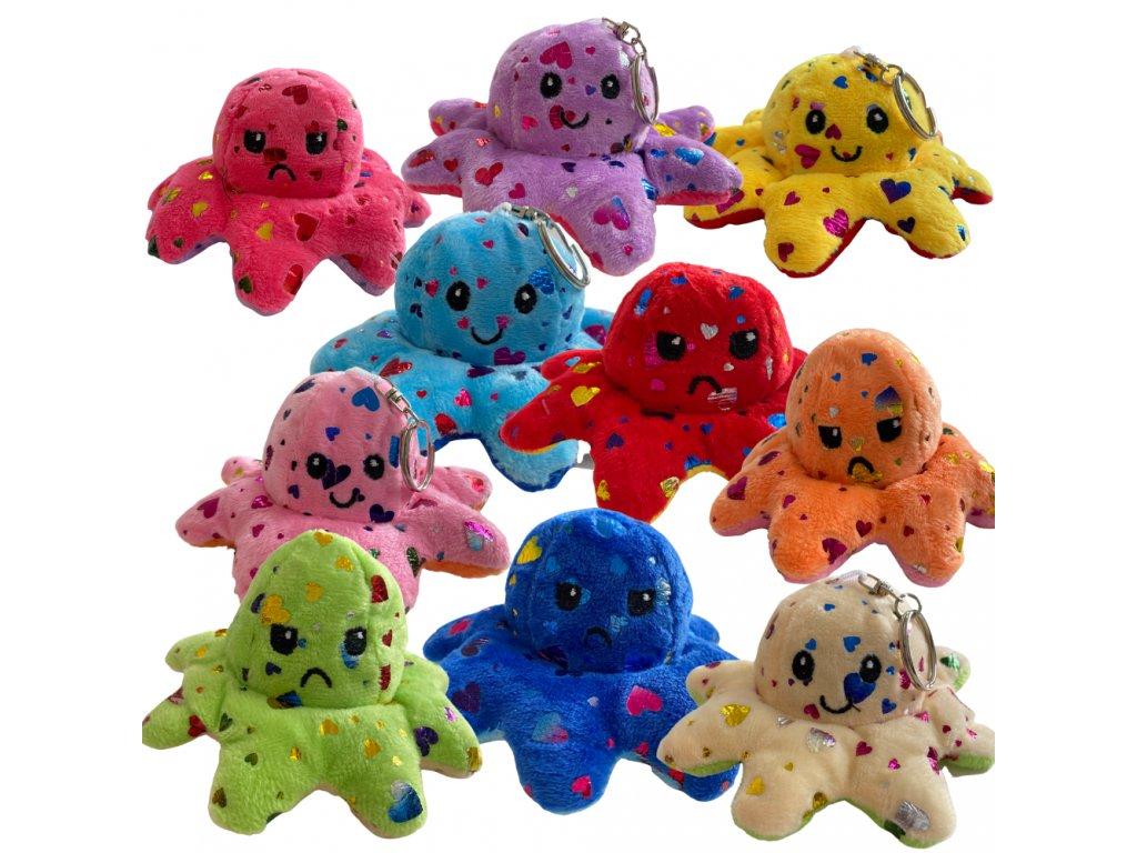 Oboustranná plyšová chobotnice s měnícím se výrazem klíčenka