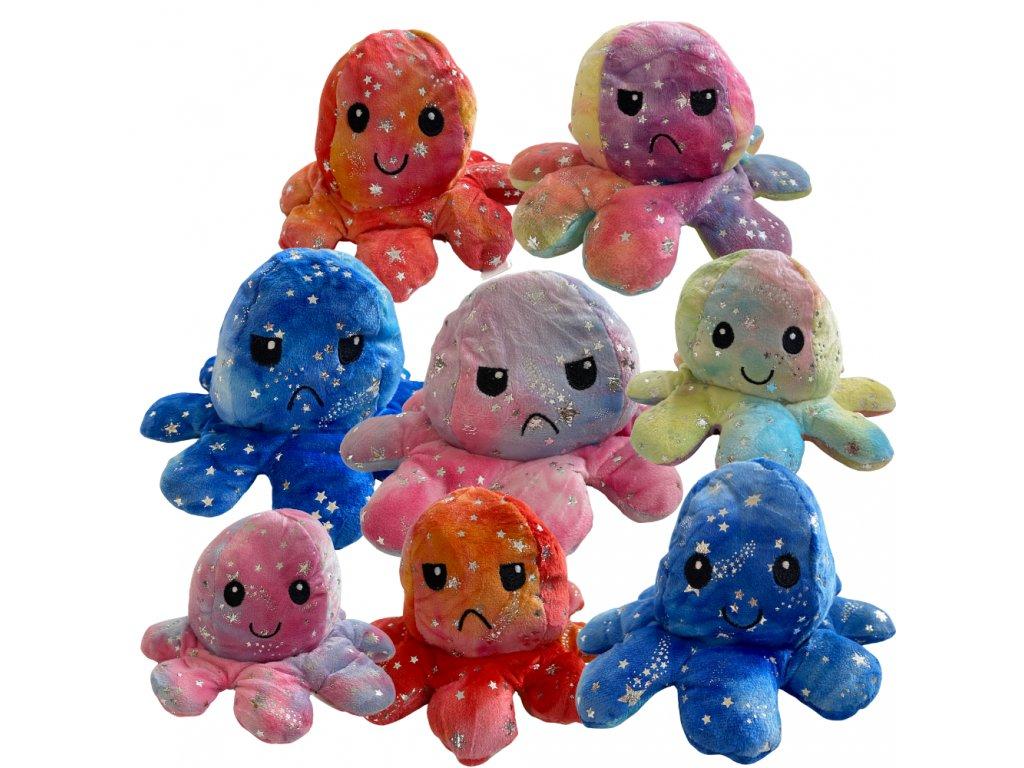 Oboustranná plyšová chobotnice s měnícím se výrazem hvězdy 20 cm