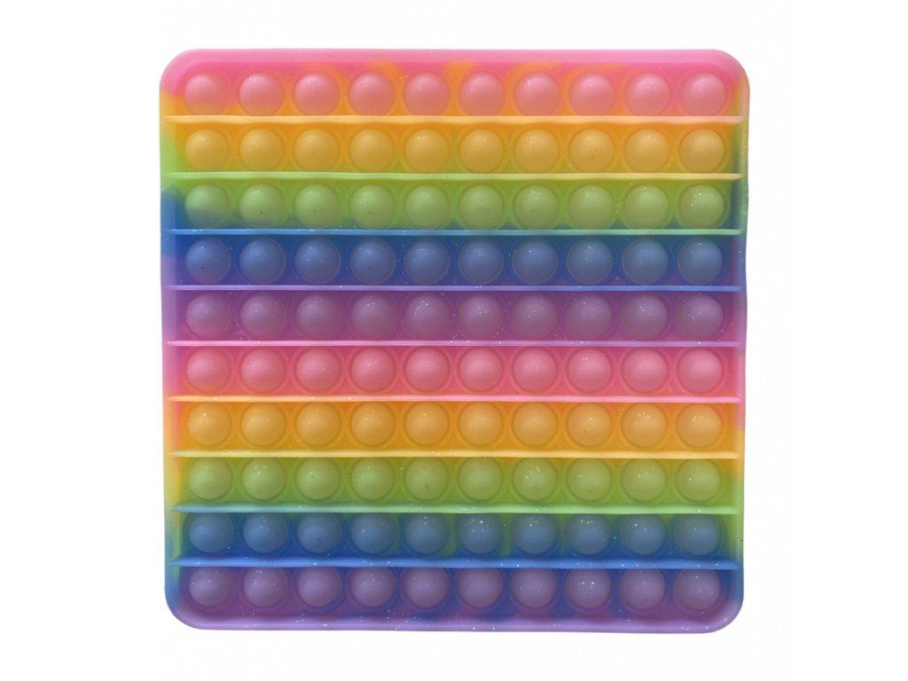 Pop It antistresová hračka čtverec JUMBO se třpytkami 20 cm
