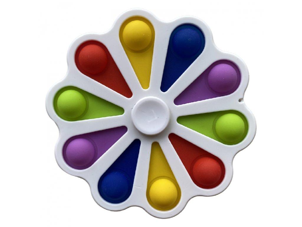 Pop It antistresová hračka fidget spinner bílý střední 12cm