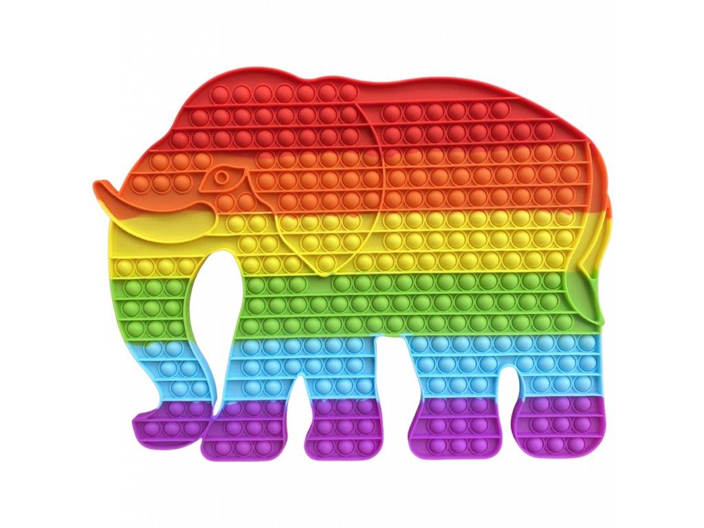 Pop It Rainbow antistresová hračka slon JUMBO XXL 45 cm