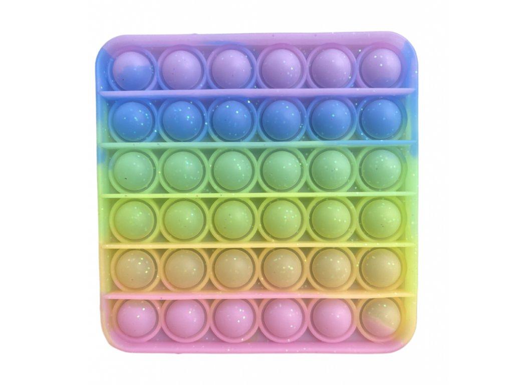 Pop It antistresová hračka čtverec se třpytkami