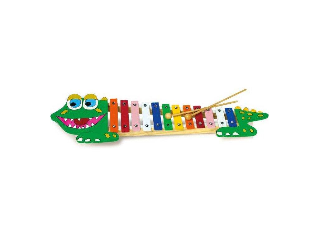 Small Foot Dětské hudební nástroje xylofon krokodýl