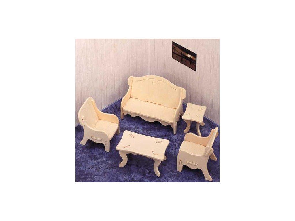 Woodcraft Dřevěné 3D puzzle obývací pokoj