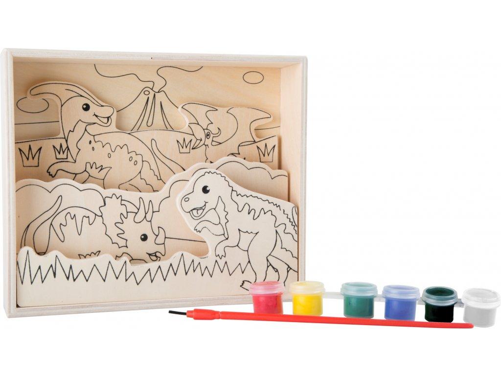 Small Foot Dřevěný barevný 3D obrázek dinosauři