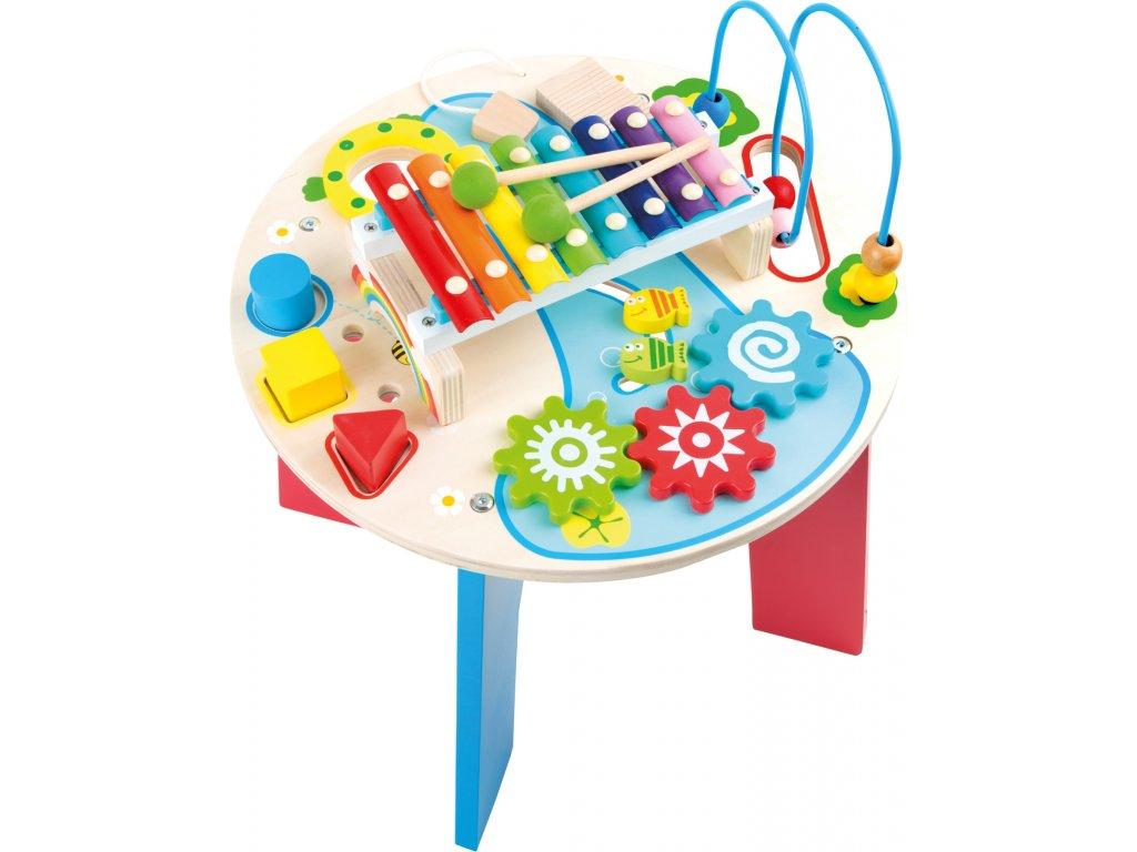Small Foot Dřevěný motorický muzikální stůl 2v1