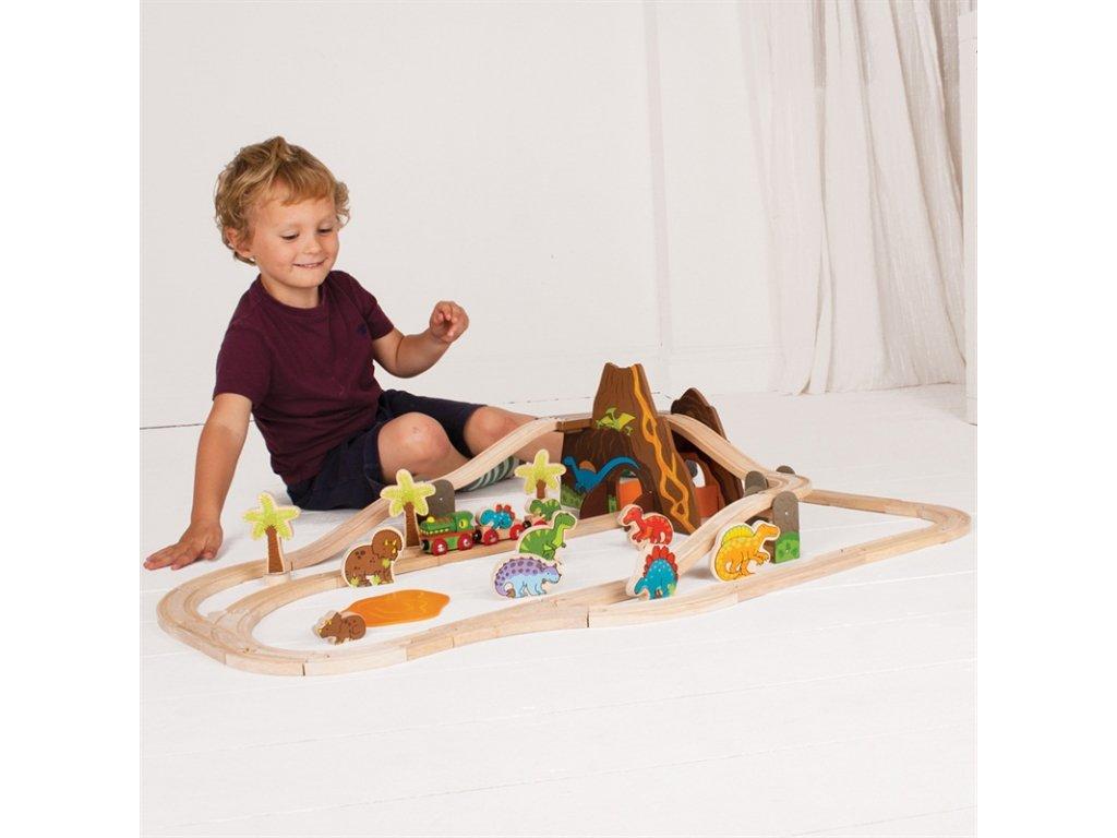 Bigjigs Rail Dřevěná vláčkodráha dinosauři