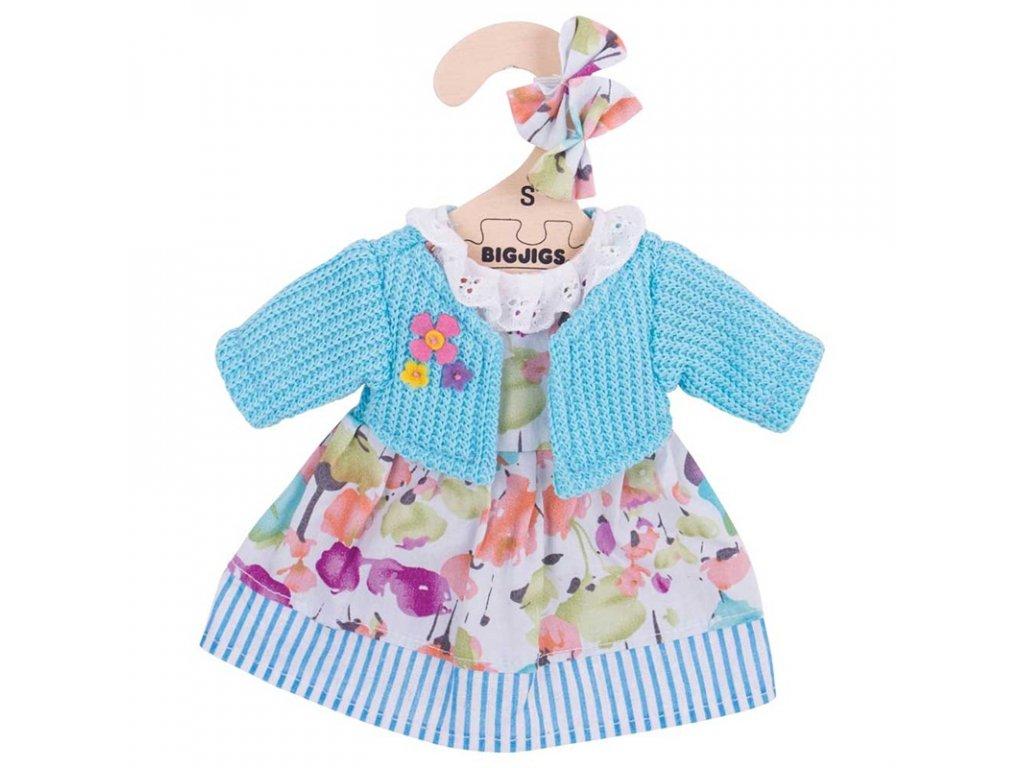 Bigjigs Toys Tyrkysové šaty se svetrem pro panenku 28 cm
