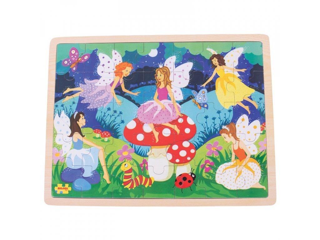 Bigjigs Toys Dřevěné puzzle kouzelné víly 35 dílků