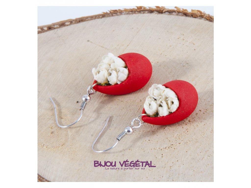 Živé šperky - Náušnice Slza červené s minirůžičkami
