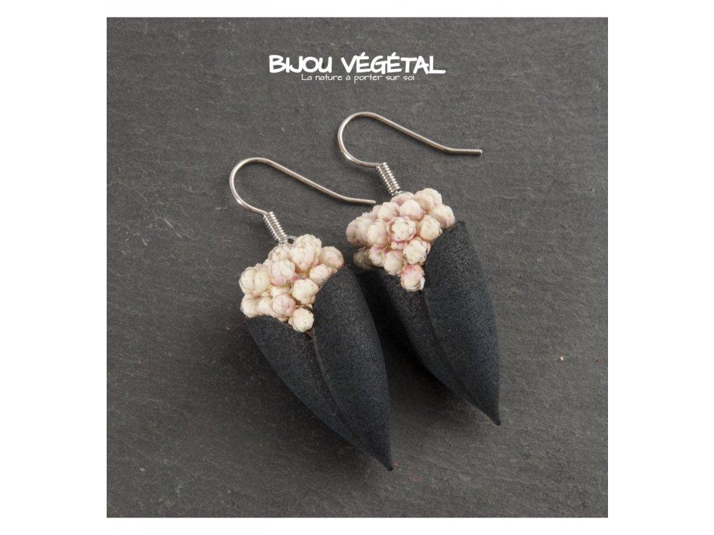 Živé šperky - Náušnice Tulipán černé s trvalými bílými kvšty