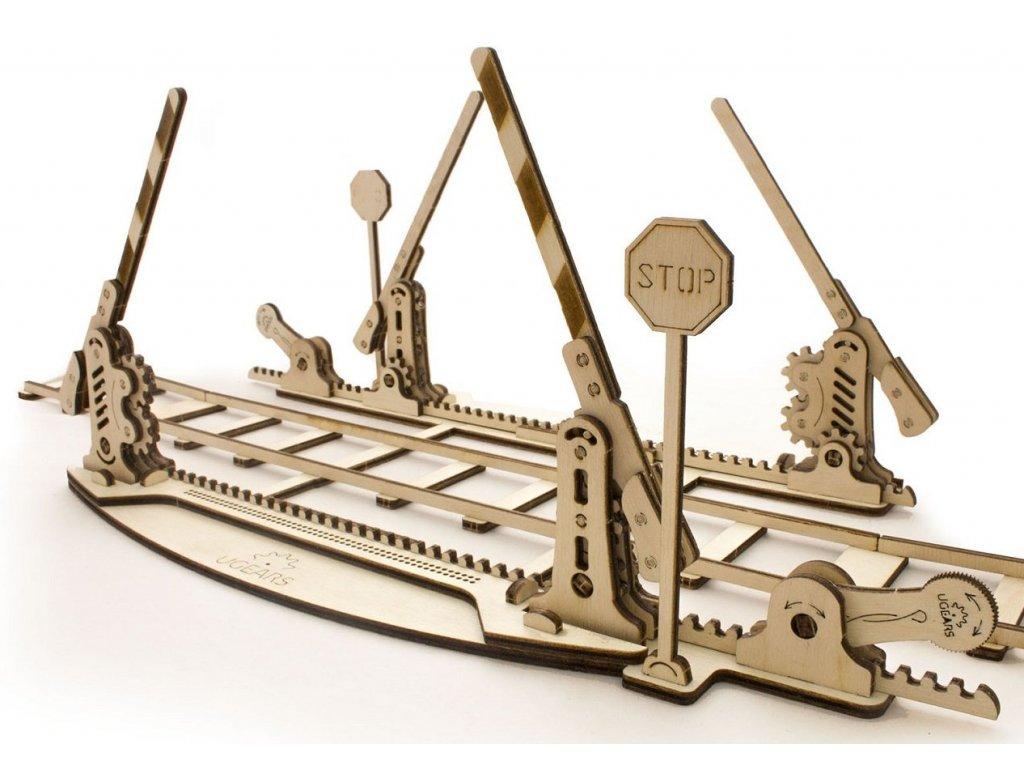 Ugears 3D dřevěné mechanické puzzle Železniční přejezd s 4 m kolejí