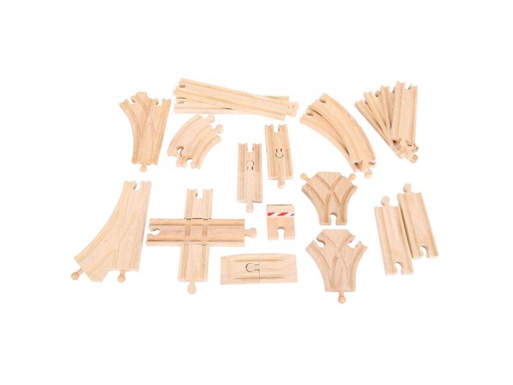 Dřevěné koleje vláčkodráhy Bigjigs - Set 25 dílů - sleva