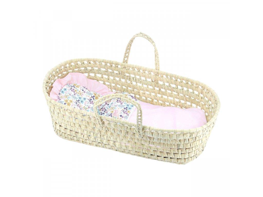 Petitcollin Přenosná taška proutěná růžová (pro panenku do 50 cm)