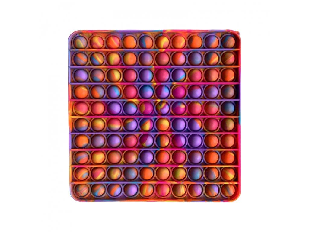 Pop It antistresová hračka čtverec fialovooranžový JUMBO 20 cm