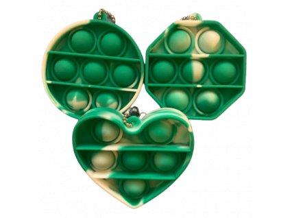 Pop It Antistresová hračka klíčenka zelenobílá