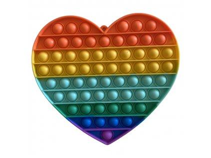 Pop It Rainbow antistresová hračka srdce JUMBO 20 cm