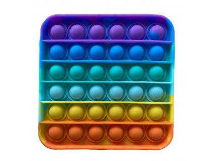 Pop It Rainbow antistresová hračka čtverec