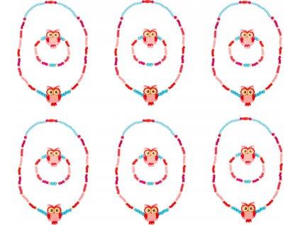 Small Foot Displej dřevěné šperky se sovou růžové 12 ks
