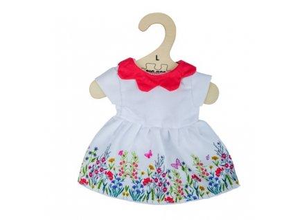 Bigjigs Toys Bílé květinové šaty s červeným límečkem pro panenku 38 cm