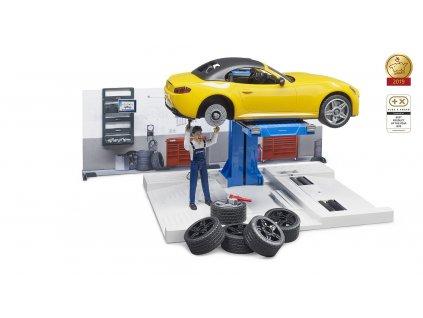Bruder Autodílna s autem a figurkou 1:16