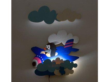 DoDo Dětská LED lampička krteček v letadle (s dálkovým ovladačem)