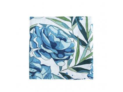 Tommy Lise Bambusová mušelínová plena Azure Blossom 120x120cm
