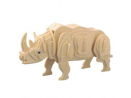 Woodcraft Drevené 3D puzzle zvieratá biely nosorožec