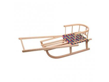 Dětské dřevěné sáňky s opěradlem a rukojetí - dle obrázku