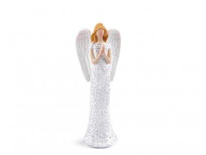 Bílý anděl s glitry - střední