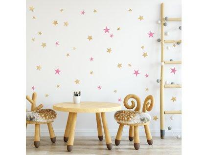 Samolepka na zeď Hvězdy zlaté a růžové