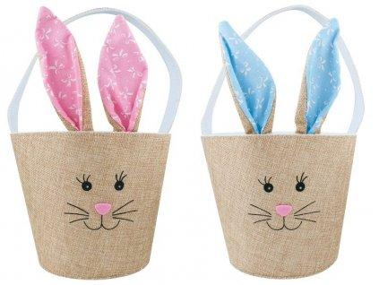 Košík textilní zajíček s ušima - set 2 ks
