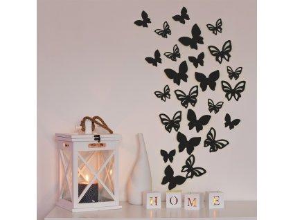 3D motýl - černá perleť 1 kompletní set (8 ks motýlů) Set