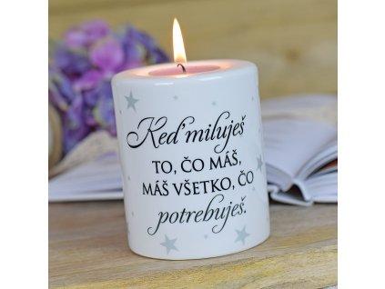 """Keramický svícen - """"Když miluješ..."""" SK"""