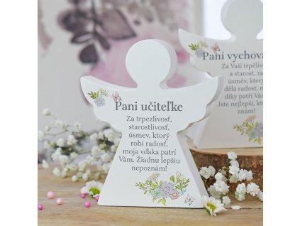 Dárkový anděl - Paní učitelce (s květinami) SK