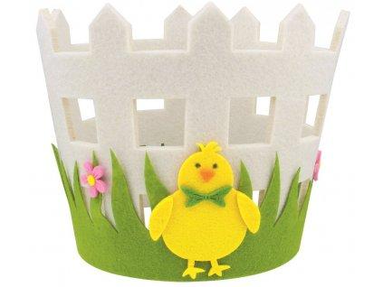 Obal na květináč filcový s kuřátkem