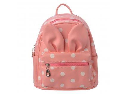 Růžový batoh s puntíky