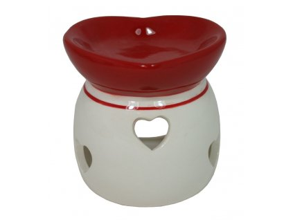 Aroma lampa - srdce/ bílo-červená