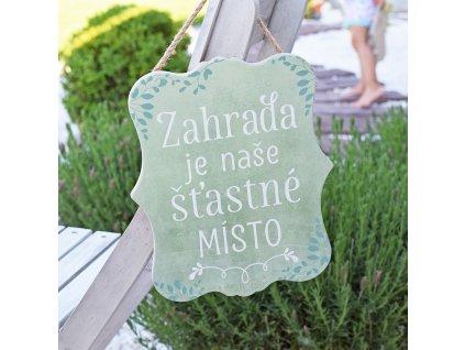 Cedulka - Zahrada je naše šťastné místo