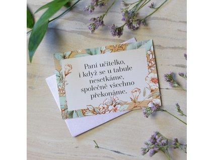 Dárková kartička s obálkou pro paní učitelku.