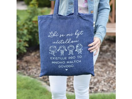 Modrá bavlněná taška - Líbí se mi být učitelkou