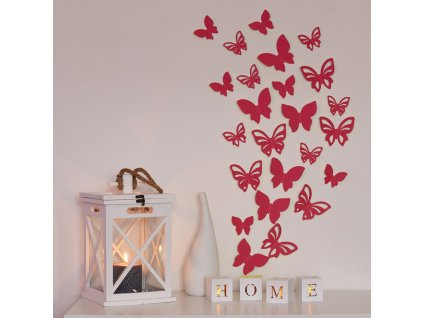 3D motýl - červený 2 kompletní sety (16 ks motýlů) Set