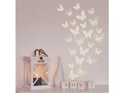 3D motýl - bílá perleť 2 kompletní sety (16 ks motýlů) Set